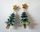 Crystal Christmas Tree Earrings - Sparkling Swarovski Crystal Trees with Gold Star Posts by Weirdly Cute Jewelry