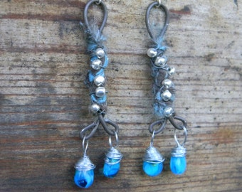 Wire Silk Wrapped Blue Glass Bead Earrings Christmas Valentine Gift