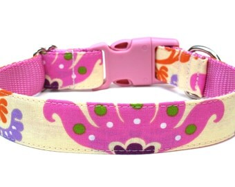 "Damask Dog Collar 1"" Colorful Dog Collar"