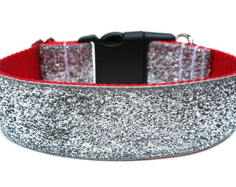 "Silver Glitter Dog Collar 1.5"" Christmas Dog Collar SIZE MEDIUM"