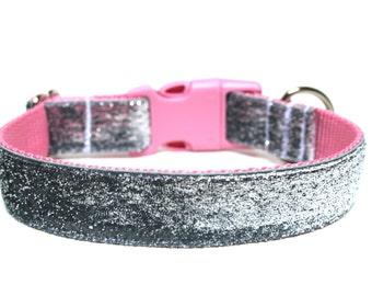 "Silver Dog Collar 1"" Silver and Pink Dog Collar"