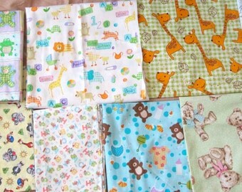 Baby Designer Soft Cotton New Fabric in Neutral Prints bears, camels, frogs, bibs, letters and more in green, yellow, blue, pink and orange