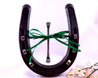 Christian Home Decor - Horseshoe with Horseshoe Nail Cross Green Ribbon - Country Western Home Decor - Handmade in Montana - Southwestern