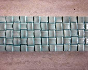 Ceramic BasketWeave Border tile -- Handmade Ceramic tile, kitchen tile, bathroom tile, basketry, MADE TO ORDER