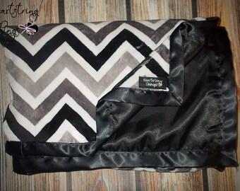 Minky Blanket, Adult Minky, Chevron Minky, Satin blanket, Charmeuse blanket, Oversized Blanket, Baby gift, Valentines gift, soft blanket