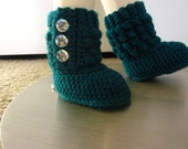 Crocheted Baby Shoes in Dark Teal, Newborn Photography Prop