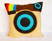 Geek pillow / cushion COVER - Instagram, 16x16 inches, camera, brown