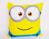 Minion cushion COVER - 16x16 inches, yellow, turquoise, white