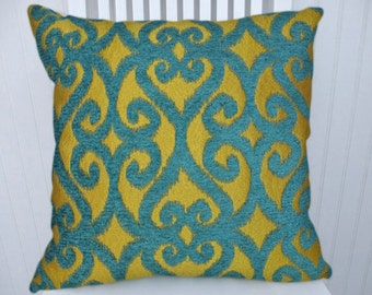 Turquoise Chartreuse Decorative Pillow Cover- NEW!! 18x18 or 20x20 or 22x22 or Custom Size-- Geometric Throw Pillow --Accent Pillow