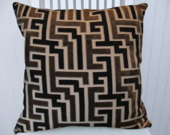 Black/Brown Velvet  Pillow Cover-- 18x18 or 20x20 or 22x22 Geometric Decorative Throw Pillow--Lumbar, Accent Pillow Covers