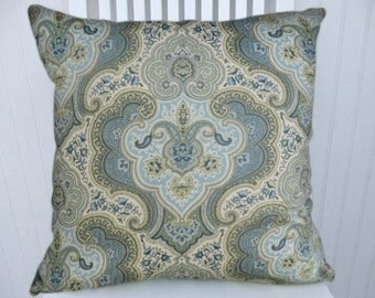 Blue Paisley  Decorative Pillow Cover-- Paisley/Suzani-- 18x18 or 20x20 or 22x22 Apple Green, Pale Green, Blue, Yellow, Cream Throw Pillow