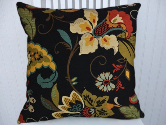 Black Flower Throw Pillow : Black Floral Pillow Cover 18x18 or 20x20 by CodyandCooperDesigns