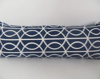 Sale 10x27, Lumbar Cover, Dwell Studio Lumbar, Navy Blue, Decorative Lumbar, Blue Pillow, Pillow Cover, Navy Pillow, Blue, White Pillow