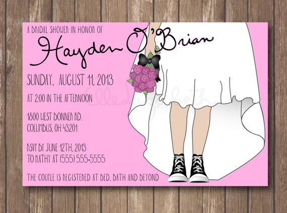 Items Similar To Printable Bridal Shower Invitation Sneakers