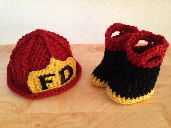 Baby Firefighter Fireman Hat & Boots Photography Prop MADE