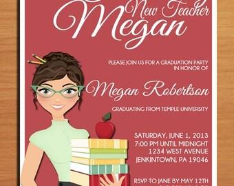 Teacher / Education Degree Graduation Party Invitation Cards PRINTABLE DIY