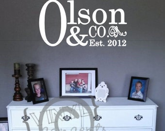 Last Name and CO. with Est. date - Vinyl Wall Art