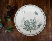 Antique French Plates // 1900 Sarreguemines Decorative Dinner Plates // Green Pomegranate // Woodland - FrenchAtticFinds
