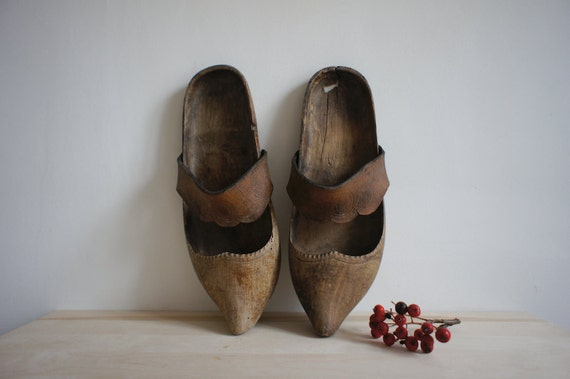Antique french wooden shoes vintage by