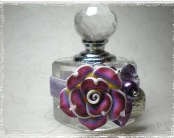 Lavender Roses Crystal Perfume Bottle