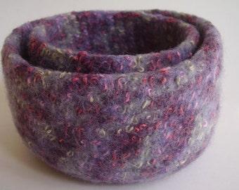 felted wool nesting bowls set of 2 lavender grey pink  purple cream eco friendly storage