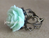 Adjustable Ring Jewelry Mint Green Flower Ring Mint Ring BACK TO SCHOOL Gift for her Sisters Friendship Ring Best Friends Party Favors