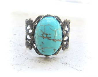 Turquoise Ring Blue Gemstone Ring Antique Brass Filigree Ring Vintage Style Modern Victorian Rustic Statement Stone Ring Gift