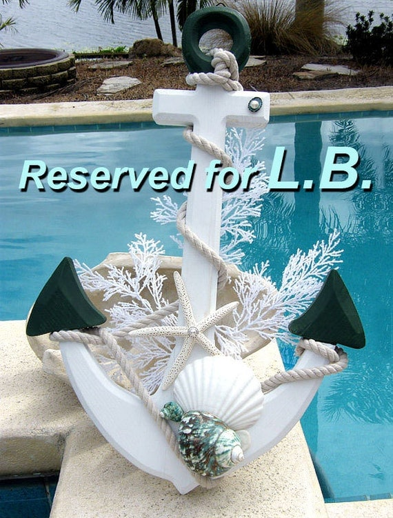 RESERVED for LB. Christmas Anchor with Seashells. Home Decor with Nautical, Beach Theme