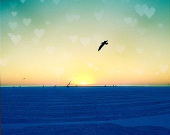 Ocean Photography, Sunset Photography, Heart Bokeh, Birds, Ocean Sunset Print