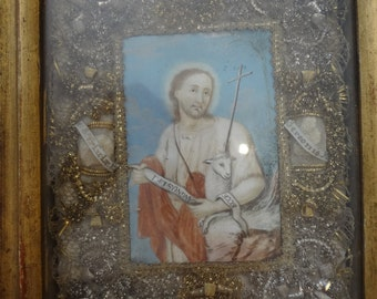 Cloister Work Reliquary with parchment paper painting