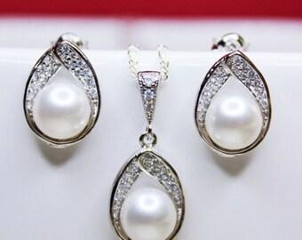 SET OF 8 -  Pearl Drop Jewelry Set, Swarovski Crytal White Pearl Earrings and Pendant Set, Wedding Jewelry Set, Wedding Gift