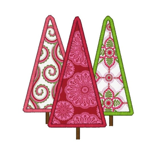Christmas Trees Applique Machine Embroidery Design-INSTANT DOWNLOAD