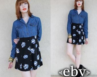 90s Grunge Dress Vintage 90s Floral Denim Longsleeve Babydoll Mini Dress S M Babydoll Dress Denim Floral Dress Floral Mini Dress