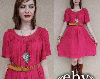 Hippie Dress Pink Dress Gauze Dress 1970s Dress 70s Dress Vintage 70s Pink Crochet Tent Dress Hippy Dress Boho Dress Festival Dress