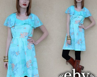 1970s Dress 70s Dress Hippie Dress Hippy Dress Blue Dress Floral Dress Boho Dress Vintage 70s Floral Babydoll Dress S M Floral Mini Dress