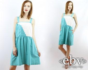 Vintage 70s Teal + White Pleated Sundress L XL Vintage Sundress 70s Sundress Large Vintage Extra Large Vintage Babydoll Dress Summer Dress