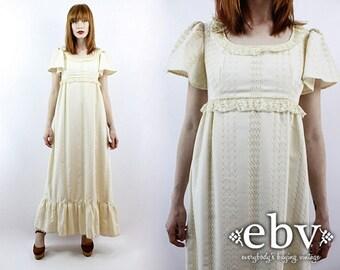 Boho Wedding Dress Hippie Wedding Dress Hippy Wedding Dress  1970s Dress Vintage 70s Cream Lace Maxi Dress XS S Hippie Dress Hippy Dress