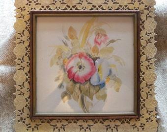 Unusual Plastilace Frame With Watercolor Floral Print Vintage