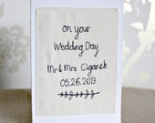 Personalised textile wedding card - hand sewn by Mr Teacup
