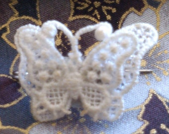 This is a Little Brooch made of a Lace Butterfly