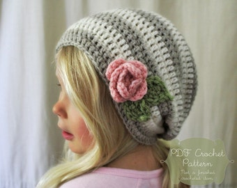 Crochet PATTERN: The Haven Slouchy Beret -Toddler, Child, & Adult Sizes- stripe, simple, beanie, flower, rose