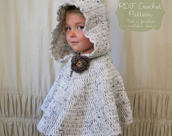 Crochet PATTERN: The River Hooded Shawl-Toddler, Child & Adult Sizes-poncho, rose, neutral, fall, autumn, hood, scallop edge