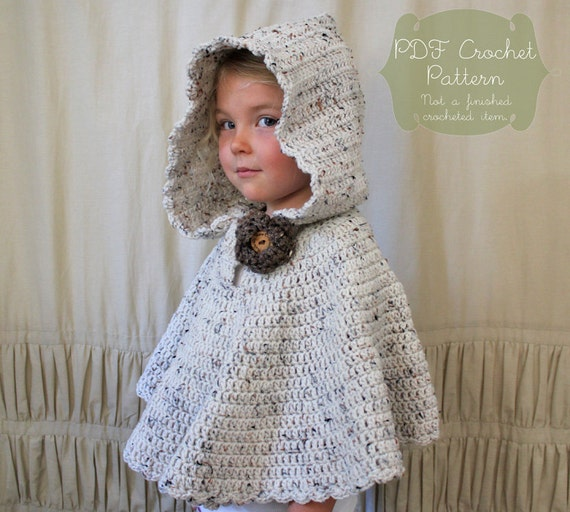 Crochet Pattern For Infant Hat With Ear Flaps : Crochet PATTERN: The River Hooded Shawl-Toddler Child & Adult