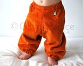 SALE - Orange baggy pants 6-12 clothing toddler summer sunshine trousers spring autumn slouchies children babies fit cloth diaper pumpkin