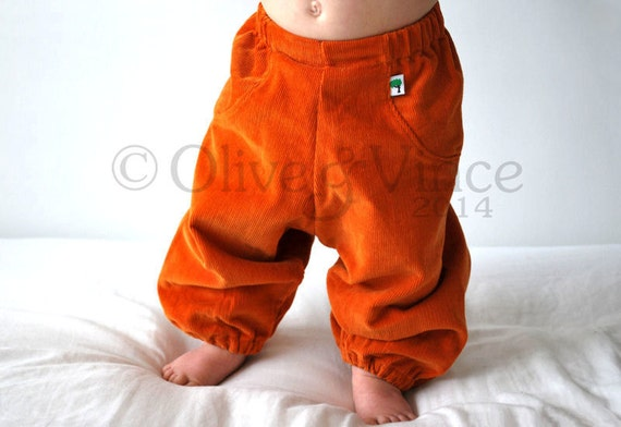 Orange baggy pants clothing toddler summer sunshine trousers hippie kids spring autumn slouchies children babies fit cloth diaper pumpkin