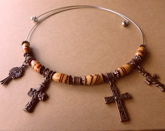 SALE-Tribal Copper Crosses, Boho Crosses with Wood & Copper Beads on Wire, Vintage Cross Necklace