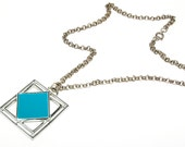 Vintage Modernist Geometric Pendant Square within a Square Silver Tone with Aqua Turquoise Blue Enamel