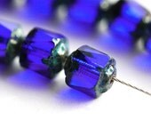 Dark Blue Cathedral beads, czech glass, rustic picasso beads, fire polished, round cut - 6mm - 20Pc - 2679