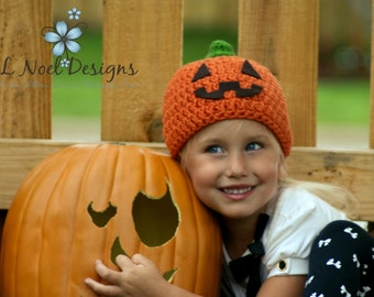 Jack O' Lantern Hat-  Photo Prop- pumpkin hat- halloween hat- pumpkin beanie- jack o lantern beanie- jack o lantern photo prop- baby pumpkin