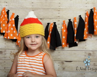 Candy Corn Hat- photography prop- candy corn beanie- halloween hat- halloween beanie- baby candy corn hat- candy corn photo prop